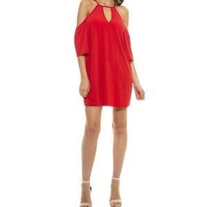 Alexia Admor Summer Red Cold Shoulder Shift Dress